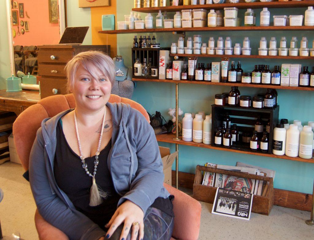 East Vanity Parlour boss lady Kristi Johanson poses in her east Vancouver salon