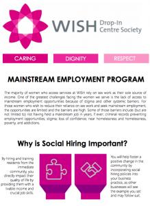 A brochure describing WISH's supportive employment program.