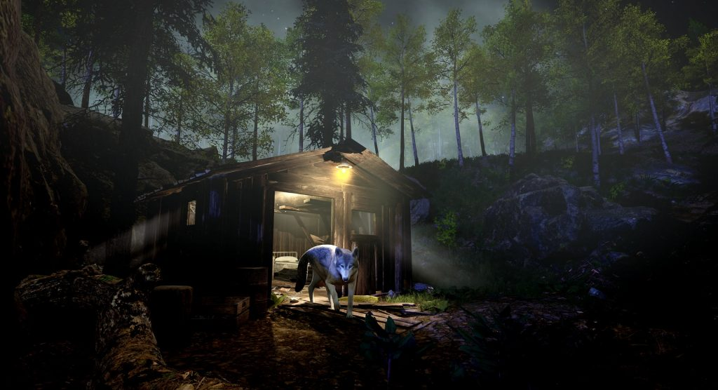 A screenshot of the game 'The Gold River Project'. A wolf is depicted exiting a cabin in the woods of the Pacific Northwest.