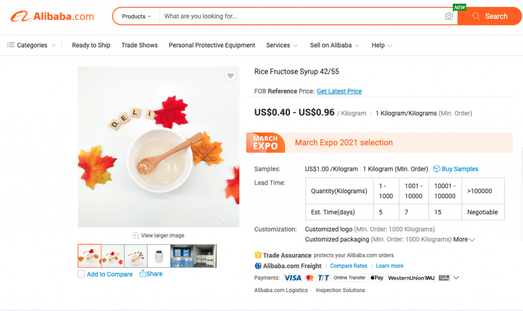 alibaba online marketplace ad for sugar syrups