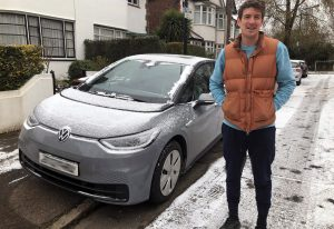 Sean Smith with his ID.3 electric car