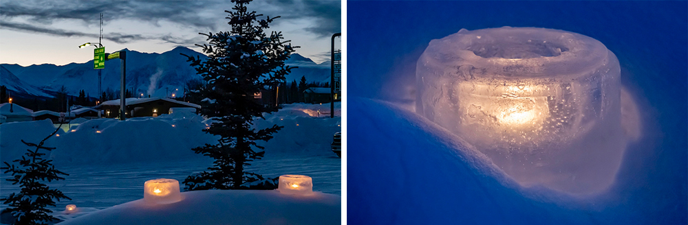 a side-by-side image of ice lanterns with tea lights glowing inside