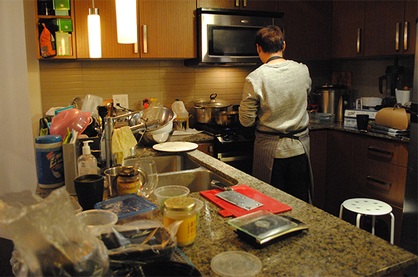 Cian Tang is cooking in his home kitchen after getting orders from customers