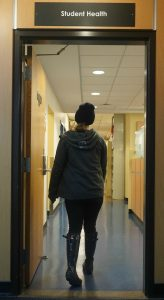 A student enters Student Health Service