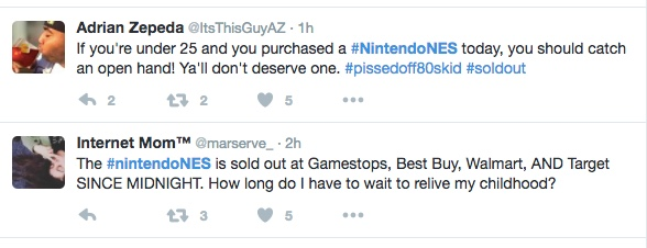 Disappointed retro-gamers vented on Twitter minutes after the NES Classic launched on Nov. 11, 2016.